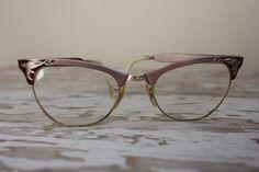 Vintage 1950's Etched Pink Aluminum Cat Eye Glasses by pursuingandie, $50.00