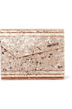 Jimmy Choo - Candy Leather-trimmed Glittered Acrylic Clutch - Gold - one size Pink Clutch, Gold Clutch, Leather Clutch, Gold Candy, Candy S, Glitter Purse, Gold Glitter, Glitter Globes, Glitter Acrylics