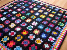 Crochet Afghan Blanket Traditional Black Granny by Thesunroomuk
