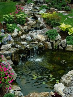 you can t ask for a better location for a pond and stream, landscape, outdoor living, patio, ponds water features, Pond a stream in a picture perfect location hill sloping toward the home More info on this project