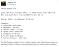 (CEBU CITY - Public Information Office) - The Official Winners for the October 2013 Barangay Election in Barangay Lorega San Miguel, Cebu City. Election Updates, Public Information, Cebu City, October, How To Get, Blog, San Miguel, Blogging, Cebu