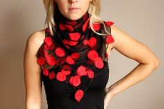 Felted silk scarf'' Tango '' with felted wool by handmadeineurope, $53.00