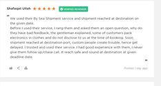 We really appreciate and value our customers' trust .... Thanks https://www.reviews.co.uk/company-reviews/store/pakistan-cargo-4u?filters%5Brating%5D%5B0%5D=5