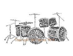 Drum Kit Typography Art Print, Musical Instrument Art Drum Calligram or Drum Set Art Illustration for Musicians, Rock n Roll Art