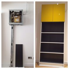 IKEA Hack on how to use the IKEA Billy bookcase to hide an ugly gas meter