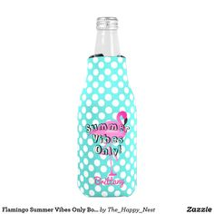 You'll always know which drink is yours with this cute polka dot flamingo bottle cooler with your name. Get one for you and all your summer loving friends. Great for summer parties.