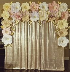 https://www.facebook.com/mommy Instagram: @mommy.can  Location Riverside, CA  Paper flower backdrop in ivory, white, blush pink, and tan. Champagne gold curtains and 6.5ftx7ft frame.  Visit my FB and Instagram pages to see more of my work!