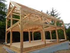 Eastern White Pine frame in Ashfield | Custom from Hardwick Post & Beam|  Traditional saltbox house with spacious open-concept kitchen
