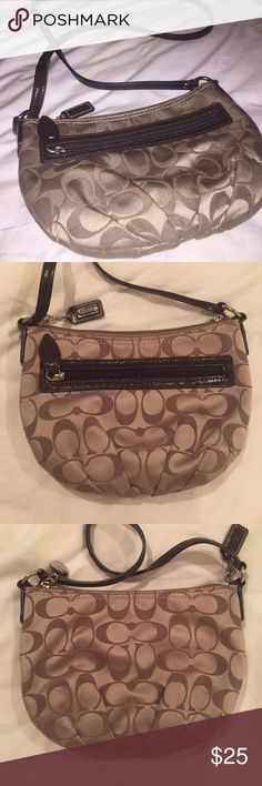 Coach Crossbody Bag Signature collection. Perfect condition. Comes with card. Approximately 9x7. Please keep in mind that smaller coach items may not have a serial number label on the inside. This one does not. The only way to tell authenticity is by the signature coach pattern (please beware of sellers that are selling unaligned patterns), perfect stitching, and by the quality of the zippers. Please ask to be tagged in the extra photos so you can see what I mean😊 Coach Bags Crossbody Bags