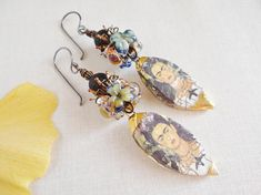 Items similar to Frida Khalo/Earrings/Clay Droppers/Black Obsidian/Sterling Silver/RusticStunning/Impressive/Feminine/Poetic/Nature/Handmade/By Yeelen Spirit on Etsy Earth Design, Jewelry Design, Unique Jewelry, Petra, Hands, Drop Earrings, Trending Outfits, Handmade Gifts, Beautiful