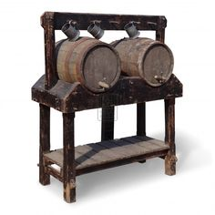 Medieval Floorstanding Double Wood Barrel Stand… this would be a cool thing to build for event taverns! Taverna Medieval, Medieval Market, Medieval Town, Beer History, Barrel Furniture, Wine Furniture, Medieval Furniture, Wine Case, Prop Design
