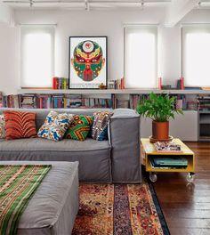 sofá cinza e almofadas coloridas - The Blue Post                                                                                                                                                                                 More