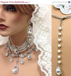 Bridal choker statement necklace earrings, vintage inspired Victorian pearl Swarovski crystal choker necklace, wedding jewelry set