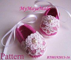 Crochet Pattern - Lace Beaded Fuchsia Crochet Baby Booties PDF Pattern…