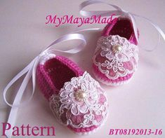 Crochet Pattern Lace Beaded Fuchsia Crochet Baby by MyMayaMade