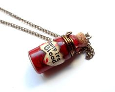 Bottle Beauty Necklace  Vampire Blood Vial by StarSisters on Etsy, $15.00