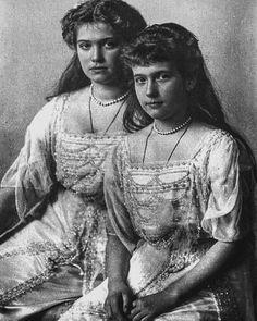 Grand Duchesses Maria and Anastasia Nikolaevna Romanova of Russia by historyofromanovs from Instagram