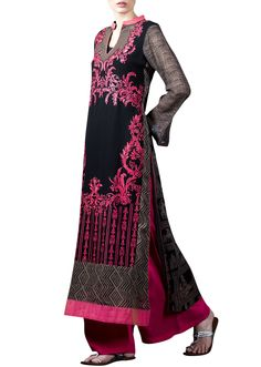 Black kurta with pink palazzo pants