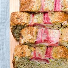 Easy Rhubarb Zucchini Bread   The Every Kitchen Rhubarb Zucchini Bread, Zuchinni Bread, Zucchini Loaf, Zuchinni Recipes, Rhubarb Desserts, Rhubarb Recipes, Chocolate Loaf Cake, Breakfast Bread Recipes, Breakfast Muffins