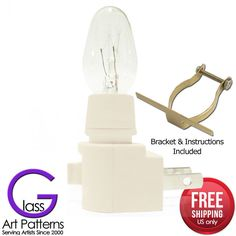 Stained Glass 6 or 12 Pack Night Light Kit: Bulb, Clip, White Switch Style 41000 #ASanbornCorporation