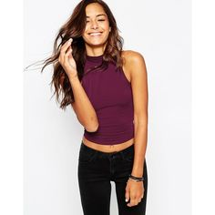 ASOS The Turtleneck Crop Top ($15) ❤ liked on Polyvore featuring tops, oxblood, turtle neck tank top, turtleneck tank top, white turtleneck, white tank and white singlet