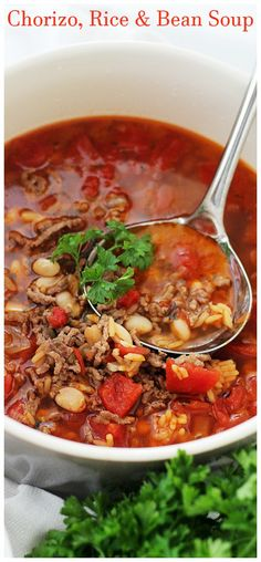 Chorizo Rice and Bean Soup. Spicy chorizo sausage adds amazing flavor to this quick easy warm and comforting Bean Soup. Chorizo Recipes, Bean Soup Recipes, Chili Recipes, Mexican Food Recipes, Chorizo Rice, Chorizo Sausage, Vegan Chorizo, Mexican Sausage, Bowl Of Soup