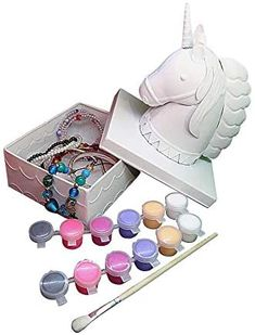 Unicorn Jewelry box for girls Painting Kit – Paint Your Own Unicorn Decor Trinket box for Kids Ages 5+, unicorns gifts for girls, Educational Art Craft girl Gifts by CR8 Outlet, 5.7x4.7x7.9 In..