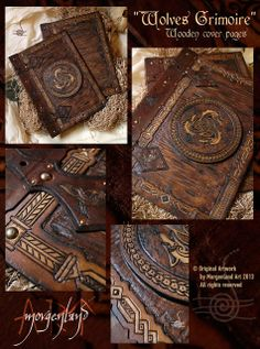 Morgenland Art Unique handmade creations get inspired from the old ages: Wolves Grimoire wooden cover pages Leather Book Covers, Leather Books, Journal Covers, Book Journal, Journals, Magic Book, Leather Journal, Leather Sketchbook, Leather Projects