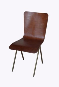 Leather covered chair with brass base and back. Measures 18.5. wholesale