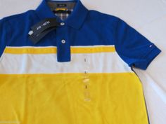 Men's Tommy Hilfiger Polo shirt S small slim fit 7845148 Nile Blue Wes 431 knit