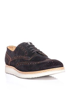 Paul Smith Shoes & Accessories Fin suede brogues  Dark-brown suede brogues with an orange hole-punch detail and woven trim sole. Another dapper outing from charming Brit label, Paul Smith; the Fin shoes bring a sporty touch to a formal classic with their springy rubber wedge sole.