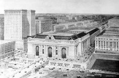 Grand Central Terminal, New York City, NY 1913, rendering  Architects: Reed & Stem, and Warren & Wetmore,  associated architects.