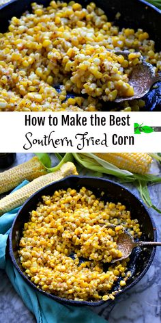 How to Make the Best Southern Fried Corn Recipe from Spinach TigerYou can find Southern food and more on our website.How to Make the Best Southern Fried. Fried Corn Recipes, Veggie Recipes, Vegetarian Recipes, Healthy Recipes, Delicious Recipes, Fried Corn Recipe With Flour, Fried Corn On The Cob Recipe, Recipes With Corn, Canned Vegetable Recipes