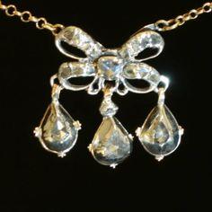 Georgian diamond chandelier pendant Princess necklace