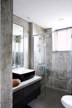 bathroom, renovation, wall finisihes, wall materials, cement