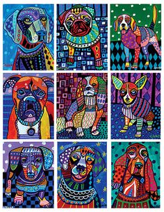 HEATHER GALLER Coloring Book Art Pages Dogs, Pugs, Boxers, Dachshunds, Greyhounds, Boston Terriers - DIY