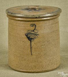 Mid-Atlantic two-gallon stoneware covered crock, c., with cobalt decoration on body and lid by Pook & Pook, Inc - 281496 Antique Crocks, Old Crocks, Antique Stoneware, Stoneware Crocks, Stoneware Clay, Porcelain Ceramics, Earthenware, Primitive Furniture, Primitive Decor