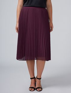 Pleated Chiffon Midi Skirt | Lane Bryant