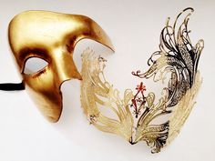 Gold Couple's Masquerade masks, Gold Phantom Mens Mask and Beautiful Swan Mask for Women, His & Hers Venetian Masks, Lovers Masquerade Set by HigginsCreek on Etsy