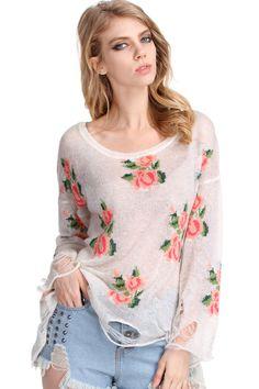 #ROMWEROCOCO. ROMWE | Floral Printed White Irregular Sweater, The Latest Street Fashion