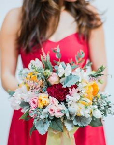 Washington DC Wedding Red Bridal Bouquet 550x825 340x430 Inspiration and Ideas: Red and Pink Bouquets + Boutonnières
