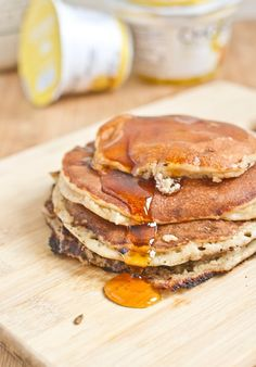 Gluten-Free Chobani Pancakes - Grain-free pancakes with just 4 ingredients. You won't have to sweat over this healthy breakfast
