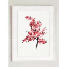 Japanese Cherry Blossom, Abstract Flower Watercolor Painting, Kitchen... ❤ liked on Polyvore featuring home, home decor, wall art, pink poster, pink tree, cherry blossom wall art, cherry blossom tree and pink cherry blossom tree