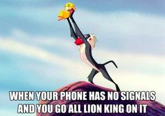 When you're phone has no signal and you go all Lion King on it.  haha yep, I do this all the time.  I never have signal in my house.  At least I'll have fun doing it now.