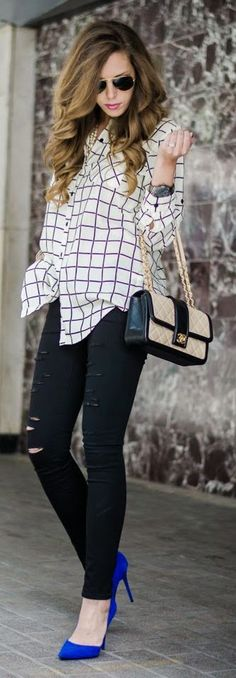 Black Ripped Skinnies Jeans + Plaid Shirt with Indigo Blue Pumps • Street 'CHIC #abbigliamento
