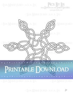 Celtic Knots Star Coloring Page Digi Stamp Printable Coloring Page by Lisa Marie Ford via Digital Download available via the DownontheFarmStudio Shop.