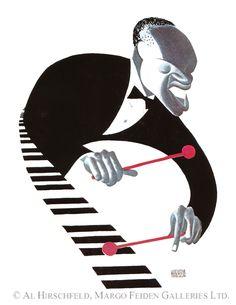 Al Hirschfeld ~ Lionel Hampton, 1945 Jazz Club, Band Posters, Music Posters, Jc Leyendecker, Charles Mingus, Vintage Illustration Art, Caricature Drawing, Celebrity Caricatures, Cool Art