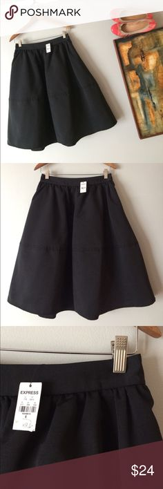 """NWT Express skirt taffeta structured gathered S NWT Express skirt taffeta structured round  gathered under waistband. Nice horizontal seam midway for extra volume. Fully lined. Shell and lining synthetic. Size 4 or 6. Manufacture size 6. Waist 28"""" wait to hem 25"""". Size S Express Skirts Midi"""