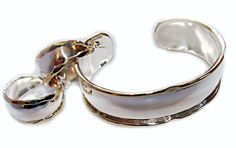 BOLD! High Polished Sterling Silver with Brass Edge Cuff and Earring Set - Earrings