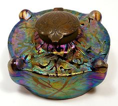 "Fantastic Art Nouveau Kralik/Loetz Iridescent ""Bacillus"" Glass Inkwell and Liner"